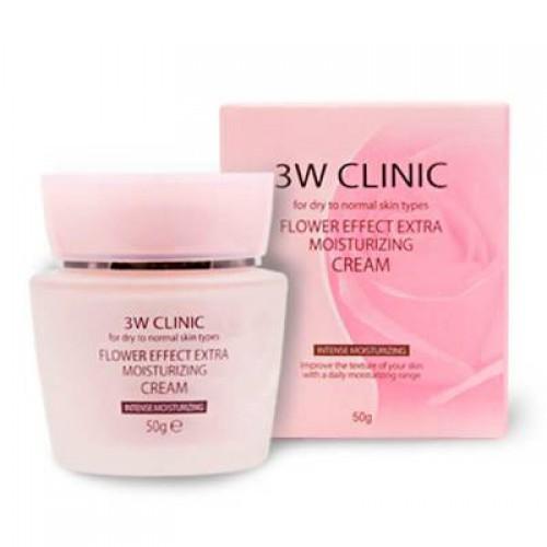 Увлажняющий крем с цветочными экстрактами 3W Clinic Flower Effect Extra Moisturizing Cream