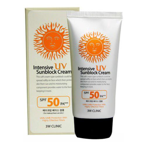 Солнцезащитный крем для лица с экстрактом алоэ  3W Clinic Intensive UV Sunblock Cream SPF50 PA+++