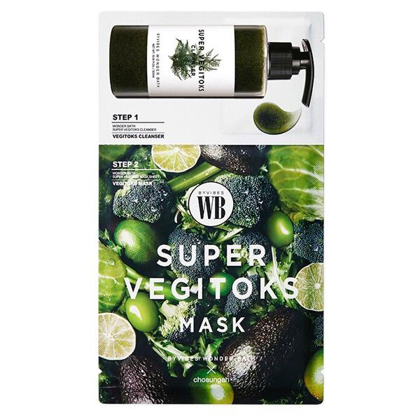 Двухэтапный детокс-комплекс Byvibes Wonder Bath Super Vegitoks Mask Green