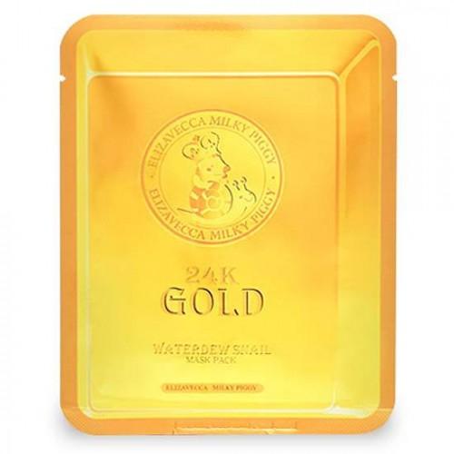 Маска-салфетка для лица с золотом и муцином улитки Elizavecca 24K Gold Water Dual Snail Mask