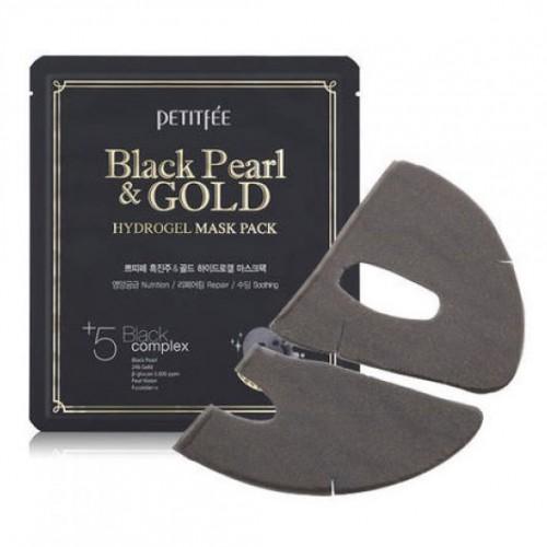Гидрогелевая маска с черным жемчугом и золотом Petitfee Black Pearl & Gold Hydrogel Mask Pack в Иркутске
