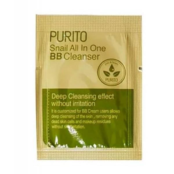 ПРОБНИК Слабокислотный очищающий гель с муцином улитки Purito Snail All In One BB Cleanser