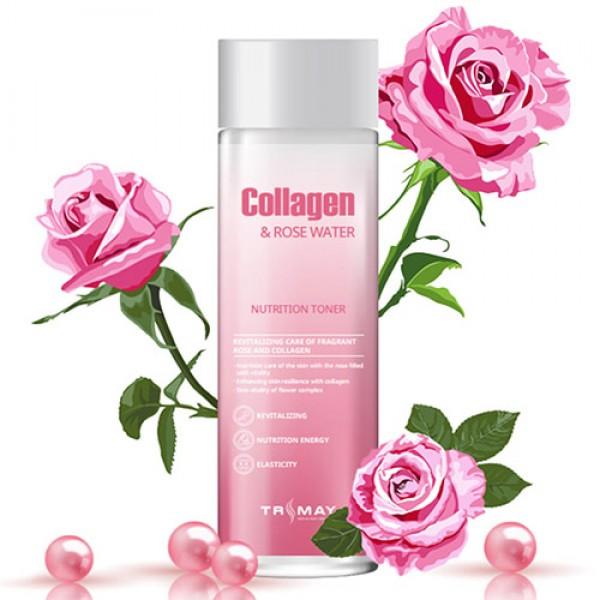 Питательный тонер с коллагеном и экстрактом розы Trimay Collagen & Rose Water Nutrition Toner
