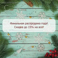 Финальная распродажа года - скидка до 15% на все!