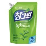 Средство для мытья посуды, фруктов и овощей с зеленым чаем CJ Lion Charmgreen Green Tea Dish Washing - 1200 мл