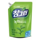 Средство для мытья посуды, фруктов и овощей с зеленым чаем CJ Lion Charmgreen Green Tea Dish Washing - 1400 мл