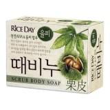 Косметическое мыло-скраб для тела с земляным орехом CJ Lion Rice Day Chestnut Shell Body Soap